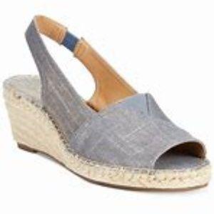 CLARKS ESPADRILLES WEDGE slingback sandals size 8